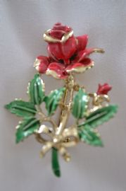 Vintage Red Rose Brooch - 1960's Signed Exquisite - Rare Smaller Sized Version (sold)